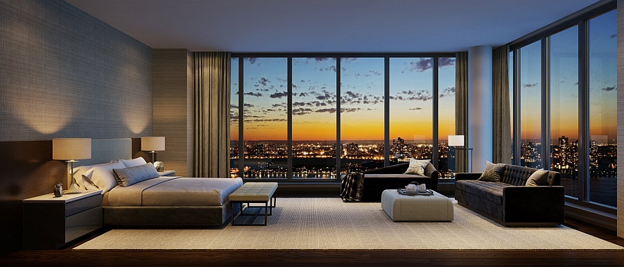 Lavish bedroom of the residence at one riverside park with for Luxury apartments new york city